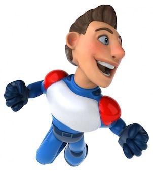 Zabawny nowoczesny superbohater - postać 3d