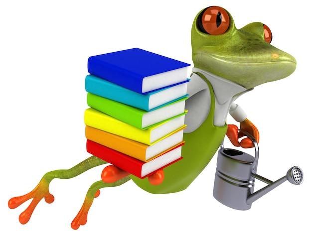Zabawny ogrodnik z żabą - ilustracja 3d