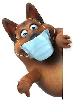 Zabawny owczarek niemiecki 3d z maską