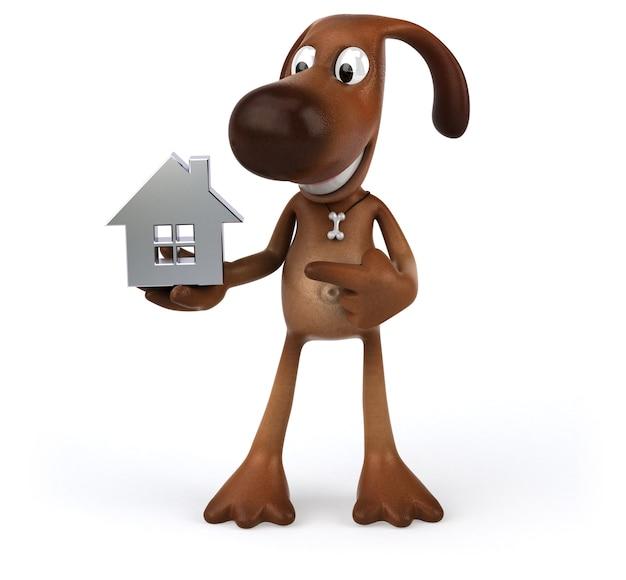 Zabawny pies trzymający miniaturowy domek