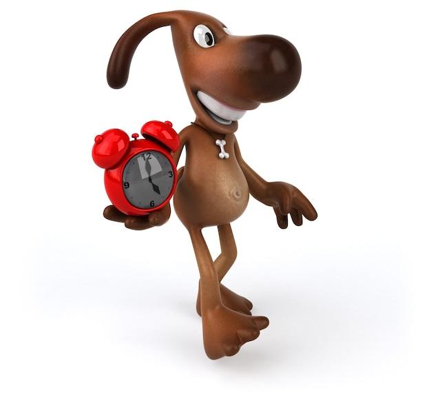 Zabawny pies trzymający w rękach budzik