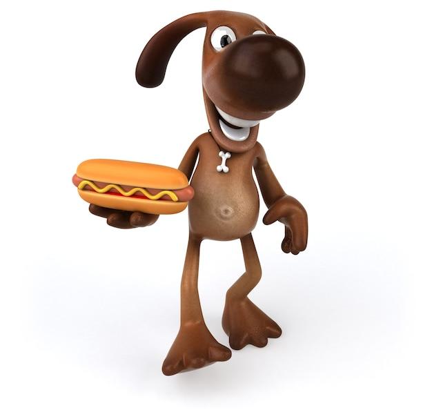 Zabawny pies trzymający w ręku hot doga