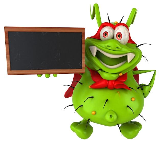 Zabawny potwór zarodkowy trzyma tablicę