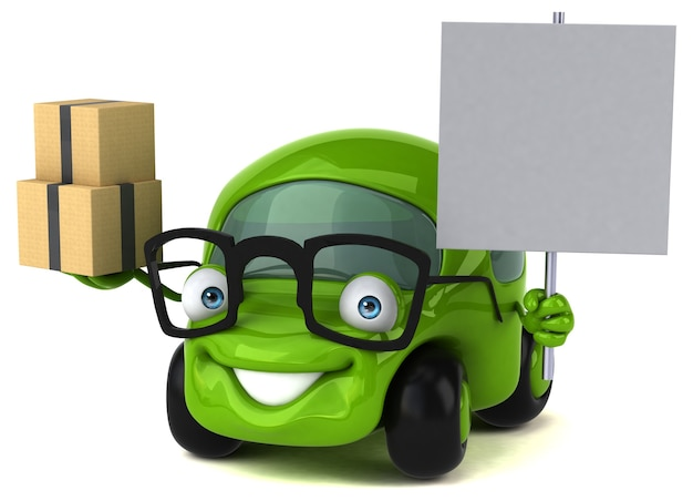 Zabawny samochód - postać 3d