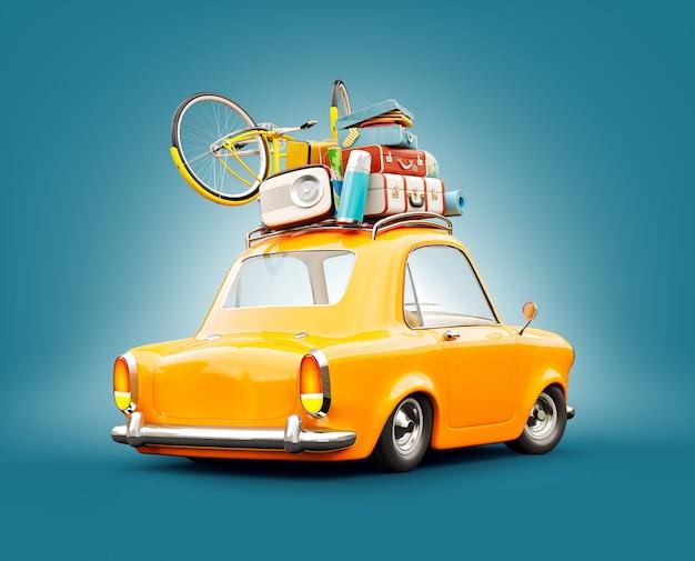 Zabawny samochód retro z bagażem, walizkami i rowerem na górze.