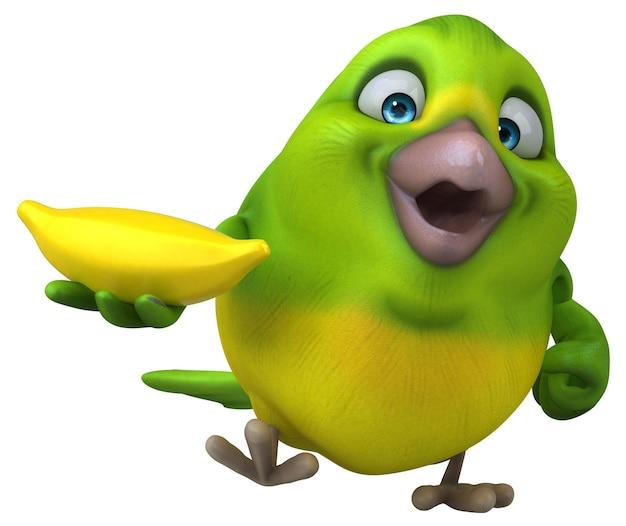 Zabawny zielony ptak - ilustracja 3d