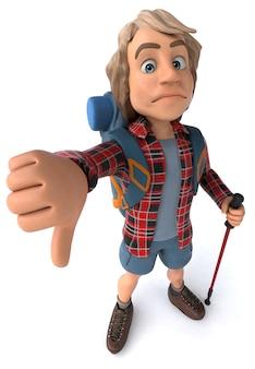 Zabawy backpacker z chodzącymi kijami - 3d ilustracja