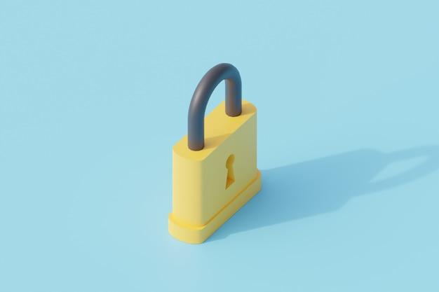 Zabezpiecz pojedynczy izolowany obiekt kłódką. renderowanie 3d