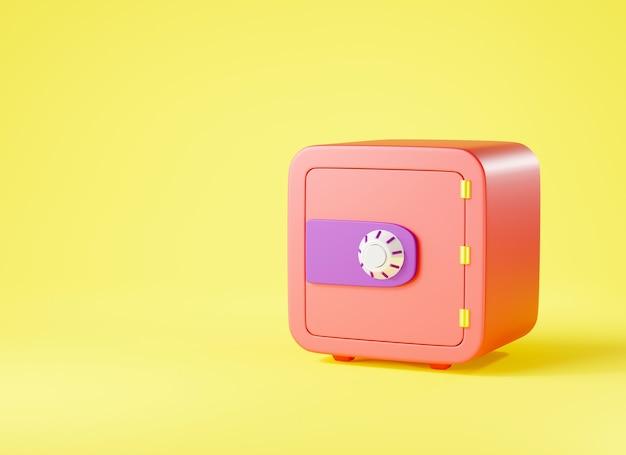 Zabezpieczenia metalowe bezpieczne pudełko bankowe ikona szafka na pieniądze bezpieczny widok z przodu z zamkniętymi drzwiami renderowania 3d