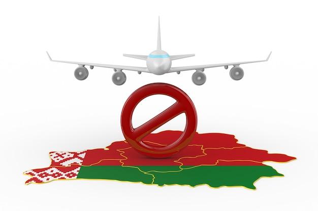 Zabroniony lot do republiki białoruś na białym tle. izolowana ilustracja 3d