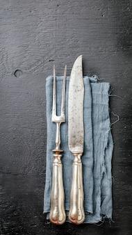 Zabytkowe naczynia kuchenne naczynia widelec mięsa i