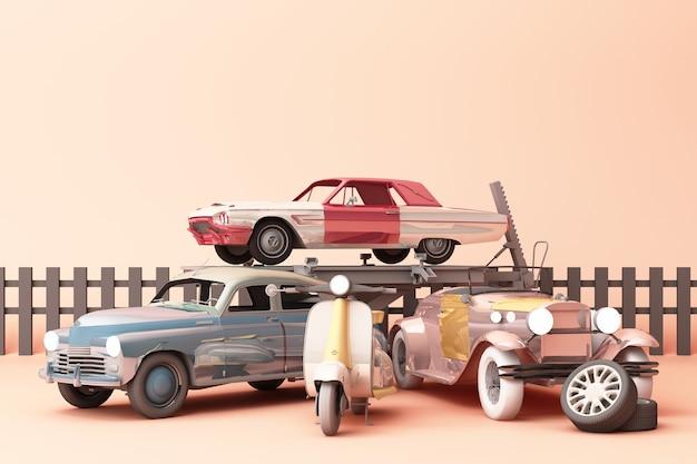 Zabytkowe samochody w kolorowym kolorze z zabytkowym skuterem na kremowym tle. renderowanie 3d