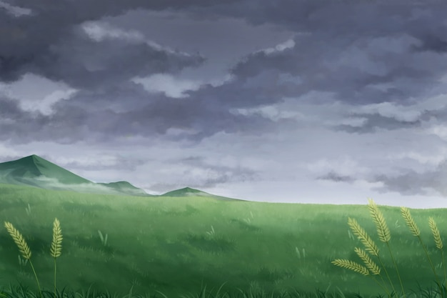 Zachmurzone niebo chmury - tło anime.