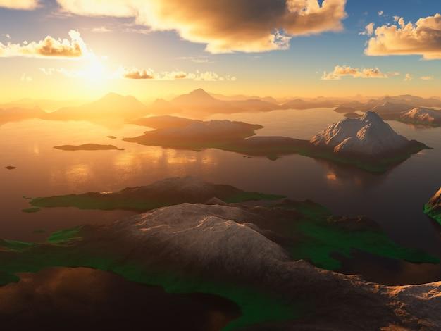 Zachód słońca górskiej doliny 3d renderowania tła
