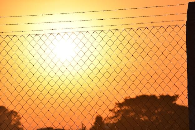 Zachód słońca przez ogrodzenie z drutu