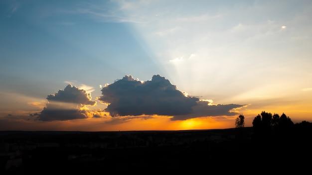 Zachód słońca z pomarańczowym słońcem i ciemnymi drzewami