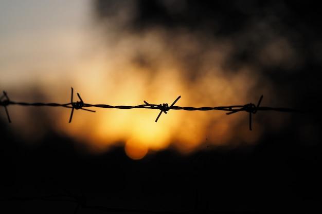 Zachód Słońca Za Drutem Kolczastym. Premium Zdjęcia