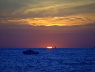 Zachody słońca nad jeziorem michigan
