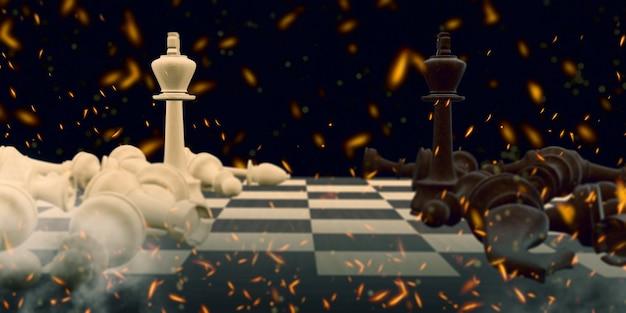 Zacięta bitwa szachowych gier planszowych ilustracja 3d
