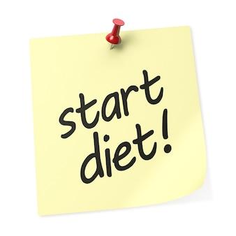 Zacznij dieta żółta karteczka samoprzylepna z czerwoną pinezką. renderowanie 3d.