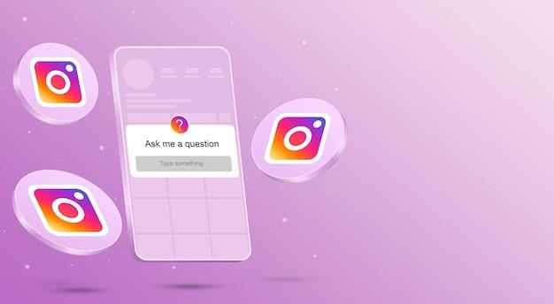 Zadaj mi formularz pytania na ekranie telefonu z interfejsem instagram i ikonami wokół renderowania 3d