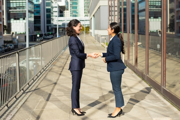 Zadowoleni bizneswomany opowiada na ulicie