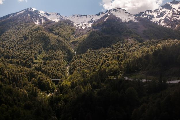 Zadziwiający obrazek zielony góra krajobraz z niebieskim niebem i białymi chmurami