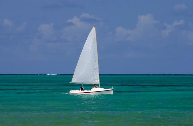 Żaglowiec na morzu z joao pessoa, paraiba, brazylia.