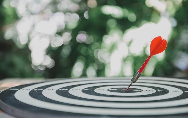 Zagraj w grę planszową w rzutki w ogrodzie. sukces w biznesie i cel. trening i aktywność w domu.