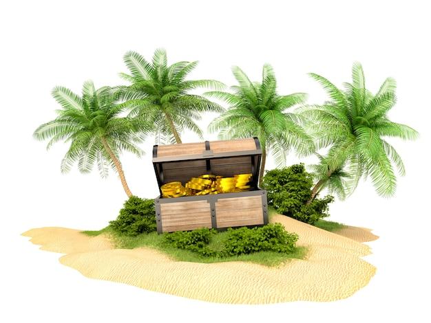 Zagubiona złota skrzynia skarbów na wyspie