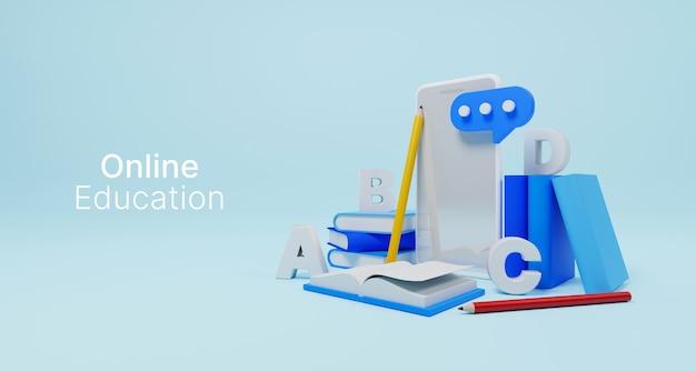 Zajęcia online edukacja online technologia e-learningowa na smartfonie mobilnym