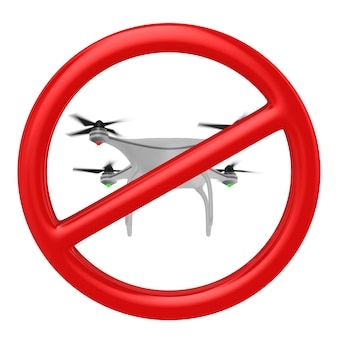 Zakaz lotów dronem. izolowane renderowanie 3d