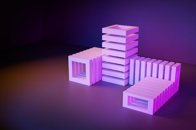 Zakończenia 3d neonowa ilustracja. 3 renderowania różowe palety ułożone w innym widoku na ciemnym tle. proste geometryczne kształty w kształcie równoległościanów