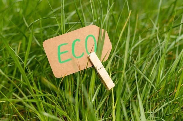 Zakończenia eco podpisuje wewnątrz trawy