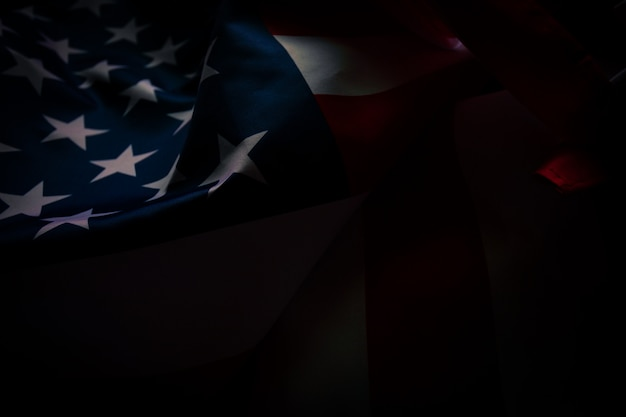 Zakończenie flaga amerykańska, usa chorągwiany tło z kopii przestrzenią. widok z góry