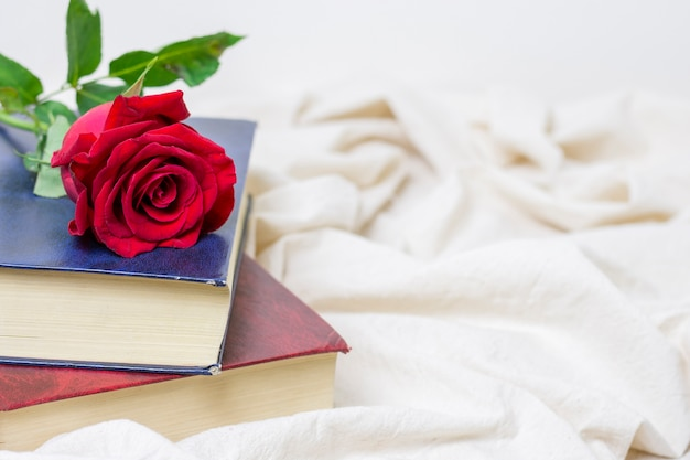 Zakończenie ładna czerwieni róża na książce