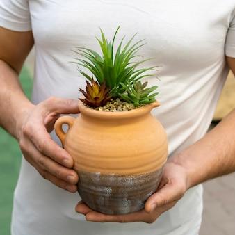 Zakończenie mężczyzna trzyma elegancką domową rośliny