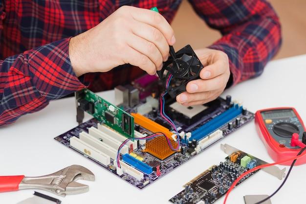 Zakończenie osoba naprawia płytę główną