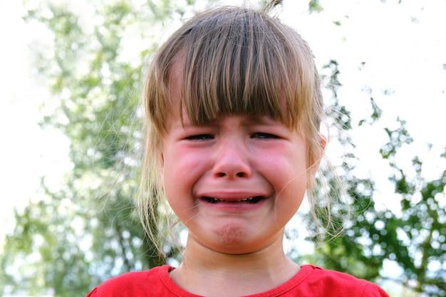 Zakończenie płacz mała dziewczynka outdoors