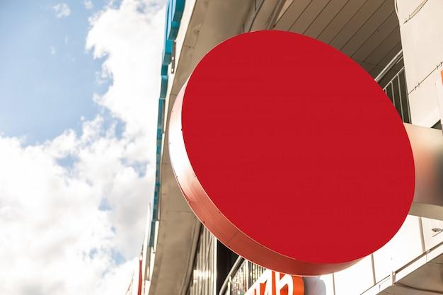 Zakończenie pusty round szyld czerwony kolor