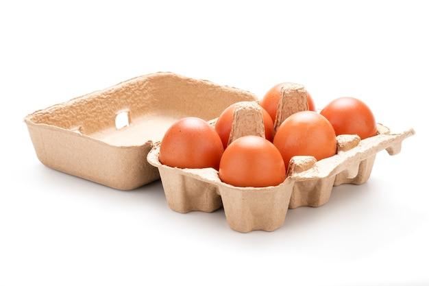 Zakończenie świezi sześć kurczaków jajek w tacy na białym tle. odizolowywający z ścinek ścieżki fotografią.