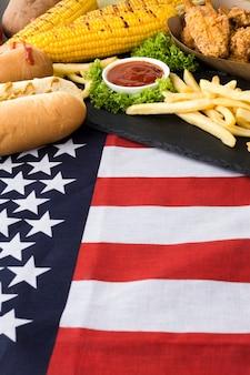 Zakończenie widok amerykańskie jedzenie