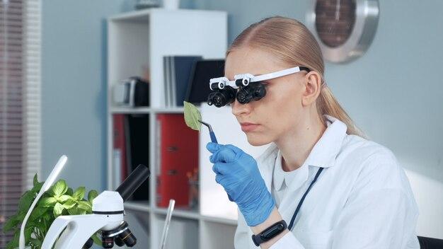 Zakończenie żeński chemii badacza naukowiec patrzeje na próbce w powiększać - eyeglasses