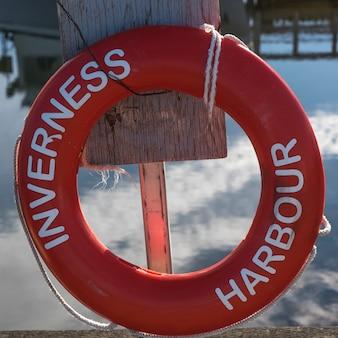 Zakończenie życia preserver obwieszenie przy dokiem, inverness schronienie, inverness, przylądka bretońska wyspa, nowa