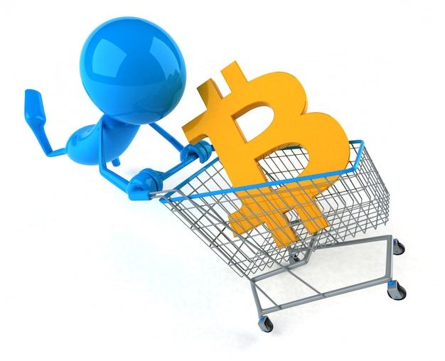 Zakupy bitcoin - 3d ilustracja