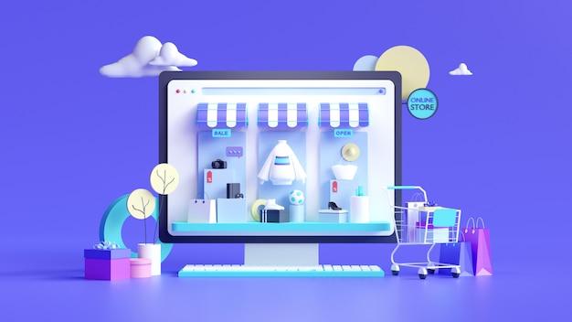 Zakupy internetowe. sklep internetowy na stronie internetowej lub aplikacji mobilnej. renderowania 3d tła. cyfrowy sklep marketingowy