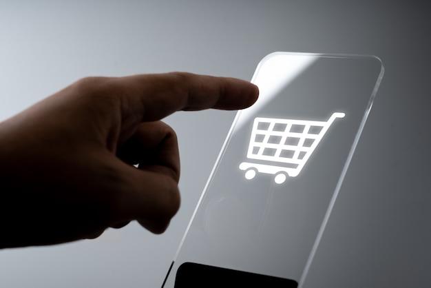 Zakupy online aplikacja ikona biznesowa na smartfonie