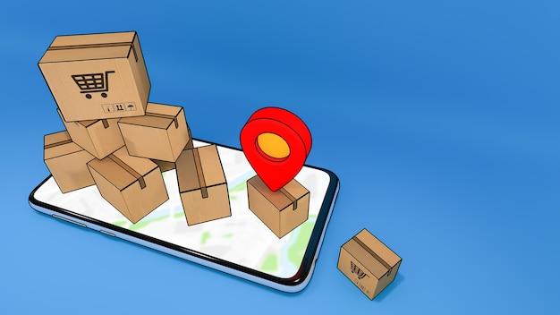 Zakupy online i koncepcja dostawy renderowanie 3d