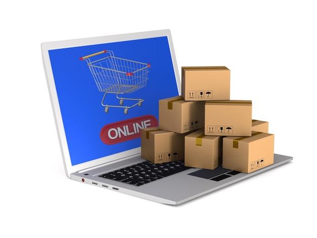 Zakupy online. izolowane renderowanie 3d