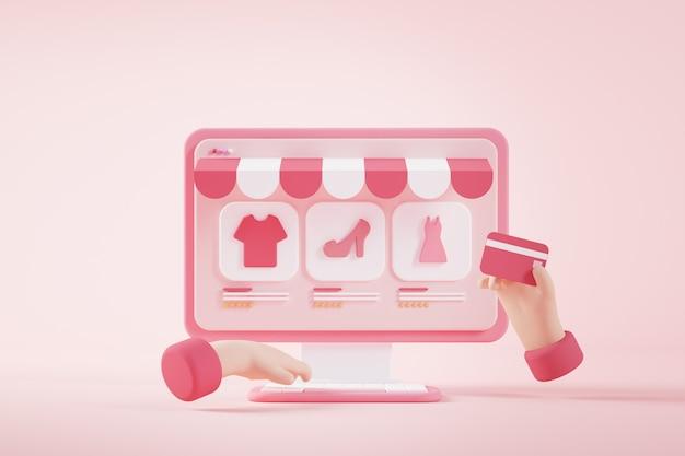 Zakupy online koncepcja renderowania 3d
